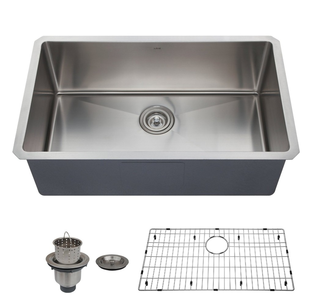 best single bowl kitchen sink reviews stainless steel kitchen sinks Zuhne 32 Inch Undermount Deep Single Bowl 16 Gauge Stainless Steel Kitchen Sink