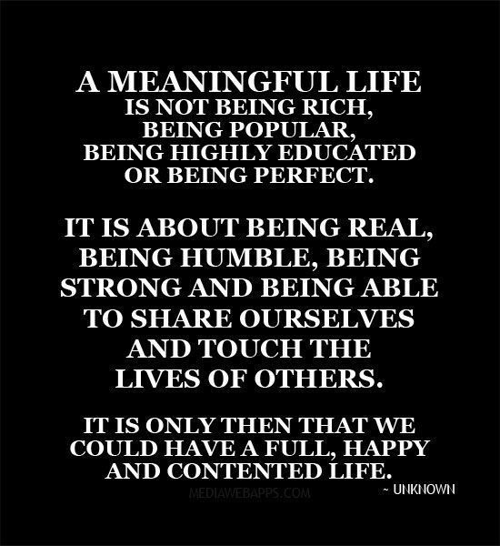 a meaningful life is not being rich being popular being