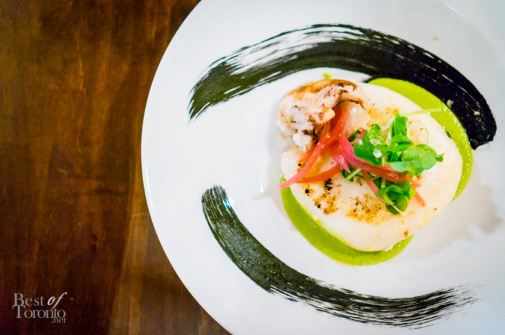 Seppia alla Griglia - Grilled Cuttlefish, Pea Puree and Pickled Red Onion | Photo: John Tan