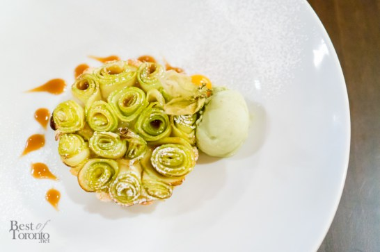 Frangipane Apple Tarte - Frangipane Tarte with Apple Rosettes, Caramel, and Pistachio Gelato   Photo: John Tan