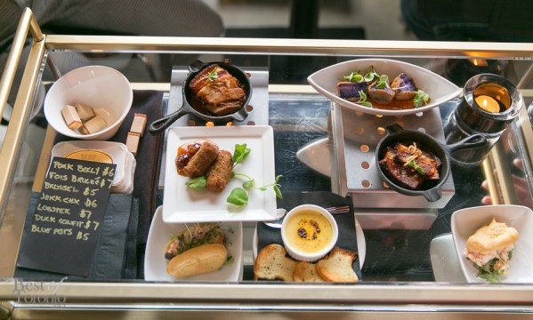 Appetizers a la carte, literally. Daily Chef's small plate creations will vary by seasonality but here we have foie gras crème brûlée, pork belly and more.