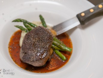 The juicy, pan seared Beef Tenderloin with buttermilk spun potatoes and asparagus