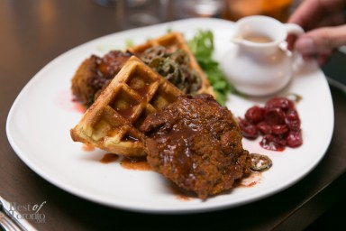 Buttermilk Fried Chicken and Waffles with crispy jalapenos and cherry chutney