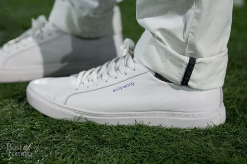 James bringing out his all-white Sully Wong x Ciroc shoes to Diner en Blanc 2015