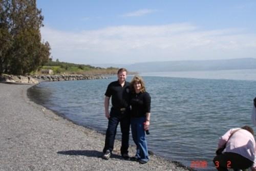 Ray & me on the Sea of Galilee, Israel