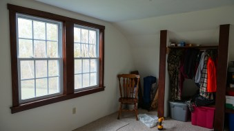 Window trimmed in master bedroom