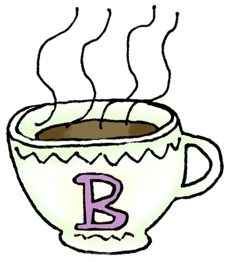 image of steaming coffee cup with letter B on it