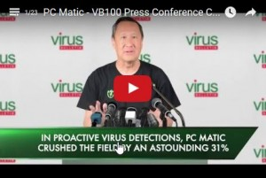 """Rob Cheng - Founder + CEO likes to claim that PCMatic does well in the """"VB100 RAP Test"""""""