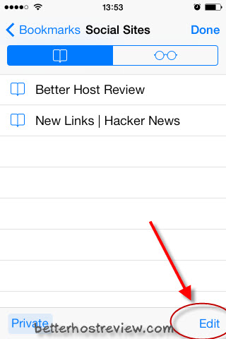 how to delete items from bookmarks on ipad