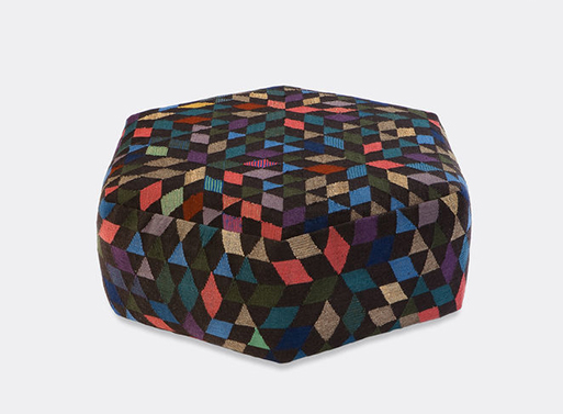 Diamond black low pouf