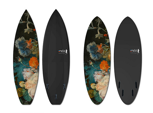 an Van Huysum's 'Flowers' recreated on surfboard