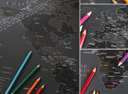 World Map black pencil drawings
