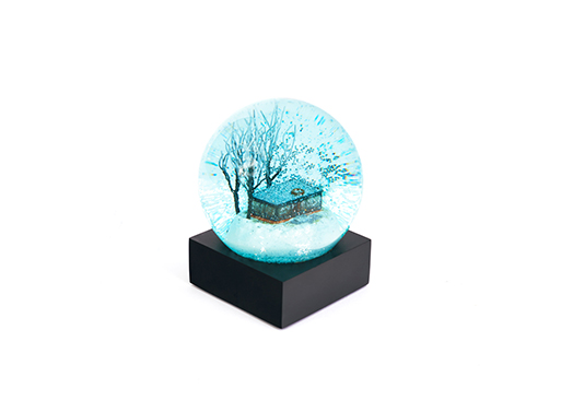 Glass House Snow Globe blue