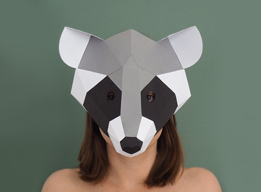 Raccoon Paper Mask by SmagaPaperwood