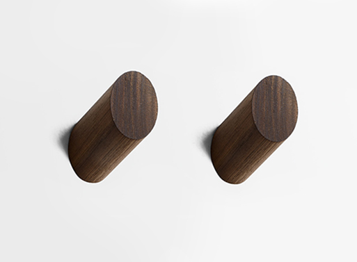 Round Walnut and Solid Brass Wall Hooks