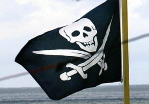 The Jolly Roger flying