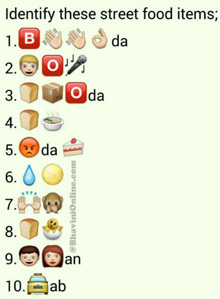Whatsapp Guess Street Food Names From Emoticons and Smileys