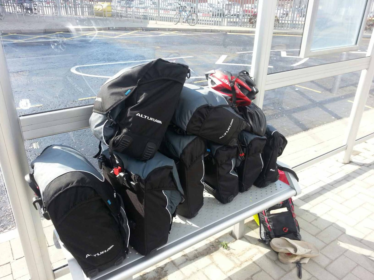 Panniers of all our belongings taken at Portsmouth ferry port the day before our cycle ride from St. Malo, France to Santander, Spain