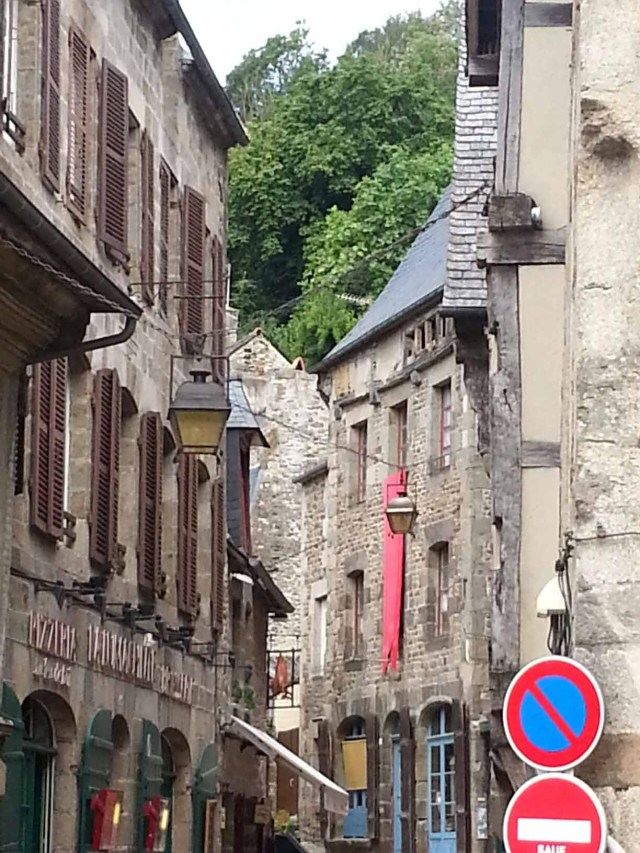 Beautiful street view in Dinan, France