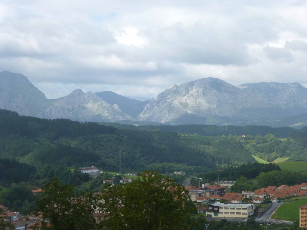 Photograph of distant Basque Country mountains, Spain.