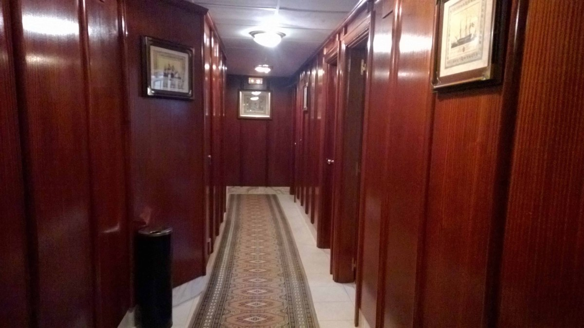 Photograph of a wooden panelled hallway in Hotel Pelayo, Noja, Cantabria.