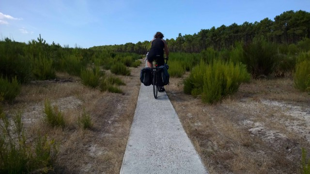 Sarah cycling along a narrow cycle path in Aquitaine, France.