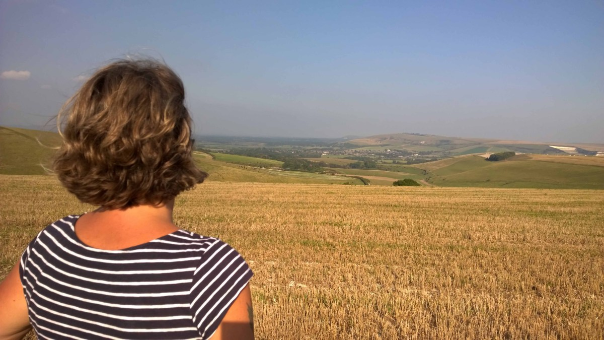 Sarah overlooking the Sussex downs