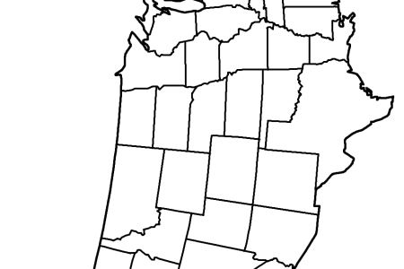 map of the united states (landscape) coloring page