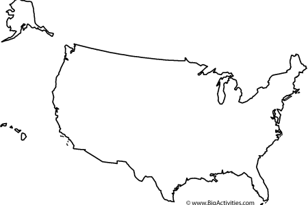 map of the united states with le coloring page