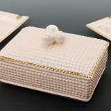 Fabulous vintage feminine cigarette box and two ashtrays.
