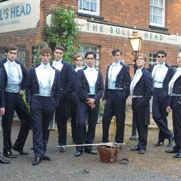 From left to right: Olly Alexander, Douglas Booth, Sam Claflin, Max Irons, Sam Reid, Ben Schnetzer, Matthew Beard, Jack Farthing, Josh O Connor, Freddie Fox in Posh