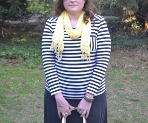 Plus Size Fashion Blogger Sherry Aikens OOTD Plus size causal stripes and brights.