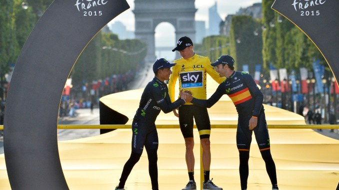 Tour de France 2015 - 102a Edizione - 21a tappa Sevres - Paris Champs Elysees 109.5 km - 26/07/2015 - Christopher Froome (Team Sky) - Nairo Quintana - Alejandro Valverde (Movistar) - foto Vincent Kalut/PN/BettiniPhoto©2015
