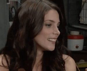 Ashley Greene from ET Canada on the set of CBGB