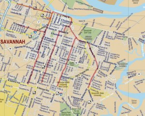 Possible streetcar spurs in Savannah -- a purely speculative map