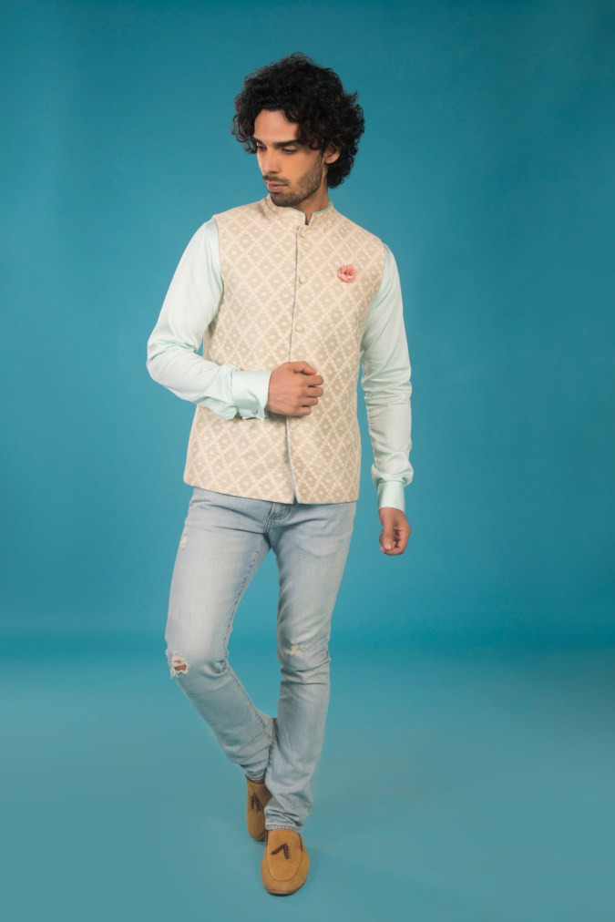 2-Beige silk rose checkered chanderi bandhi with echeveria mint chinese collar shirt & ripped blue jeans