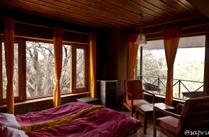 Nandaghunti rooms are our coziest rooms. Mostly wood panelled, with just a little stone used for contrast.