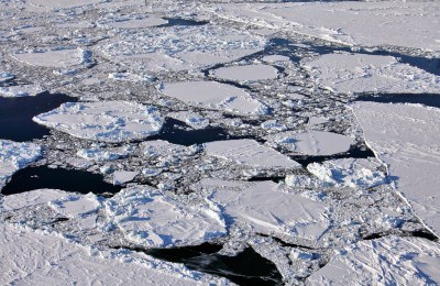 Aerial view of frozen Arctic Ocean