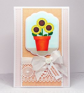 sunflower plant pot card