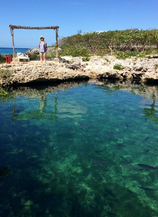 Enjoying the pristine waters at Caleta Buena. (Photo by Jessica Rozek)