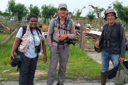 Guadeloupe Field Team-Frantz, Eric and Anthony ready to begin the survey on Barbuda. (Photo by Herve Pennel)