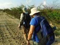 Sophia and Frank embark on the 'March of the Penguins' on their quest to find the Barbuda Warbler (Photo by Shanna Challanger)