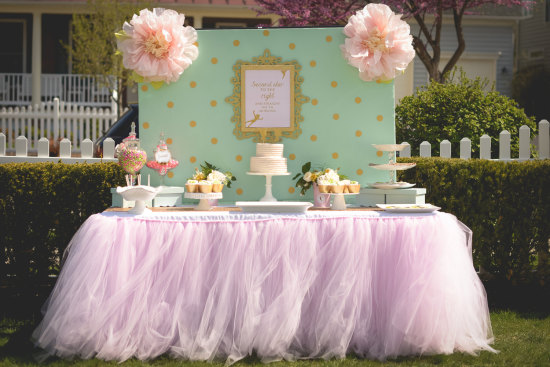 Pale Pink Tutu Table Skirt Ballerina party