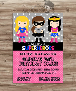 SUPERHERO Girls Invite Birthday Invitation Superheros Pink Invite Girls Superhero Birthday Supergirl, Batgirl, Digital Printable