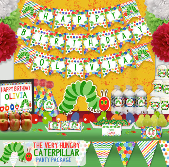 The Very Hungry Caterpillar Birthday Party Printable Party Decorations