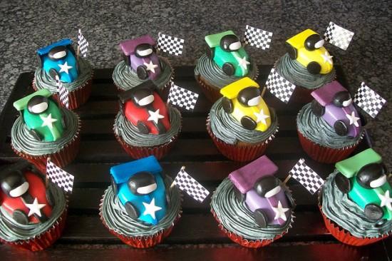 racing car birthday party cupcakes