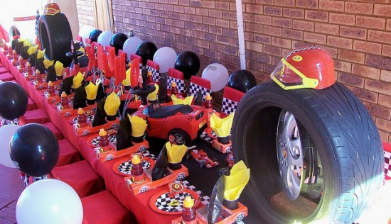 racing car birthday party table setting