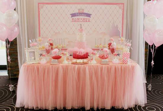Bling Princess First Birthday Party dessert table pink