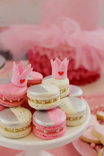 Bling Princess First Birthday Party macarons with pearls