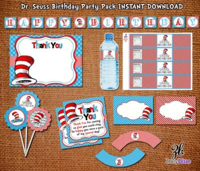 Dr Seuss BIRTHDAY Cat in the Hat INSPIRED Party Pack Printable